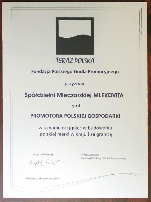 MLEKOVITA Promotorem Polskiej Gospodarki