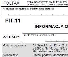 PIT-11: Papierowy formularz składamy do końca stycznia
