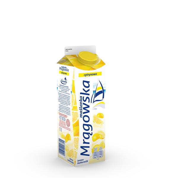 Maślanka Mrągowska o smaku mango–kardamon oraz cytryny