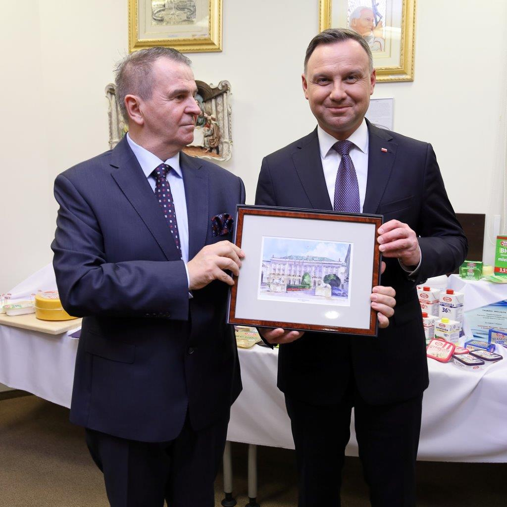 Prezydent Andrzej Duda z wizytą w centrali Grupy MLEKOVITA