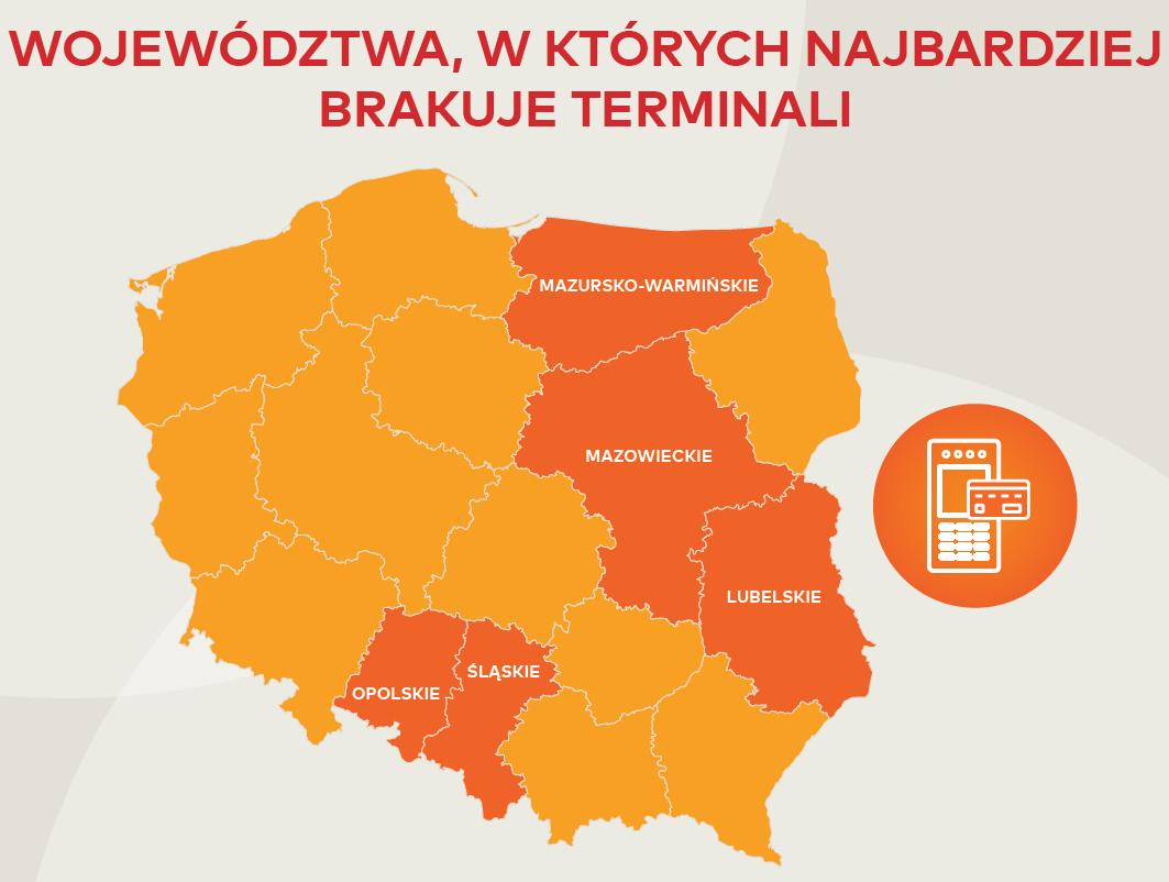 Terminale płatnicze na mapie Polski