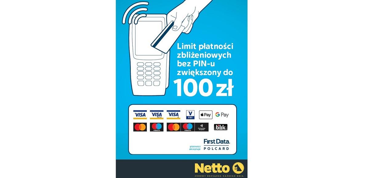 Netto: płatności kartą do 100 zł bez kodu PIN