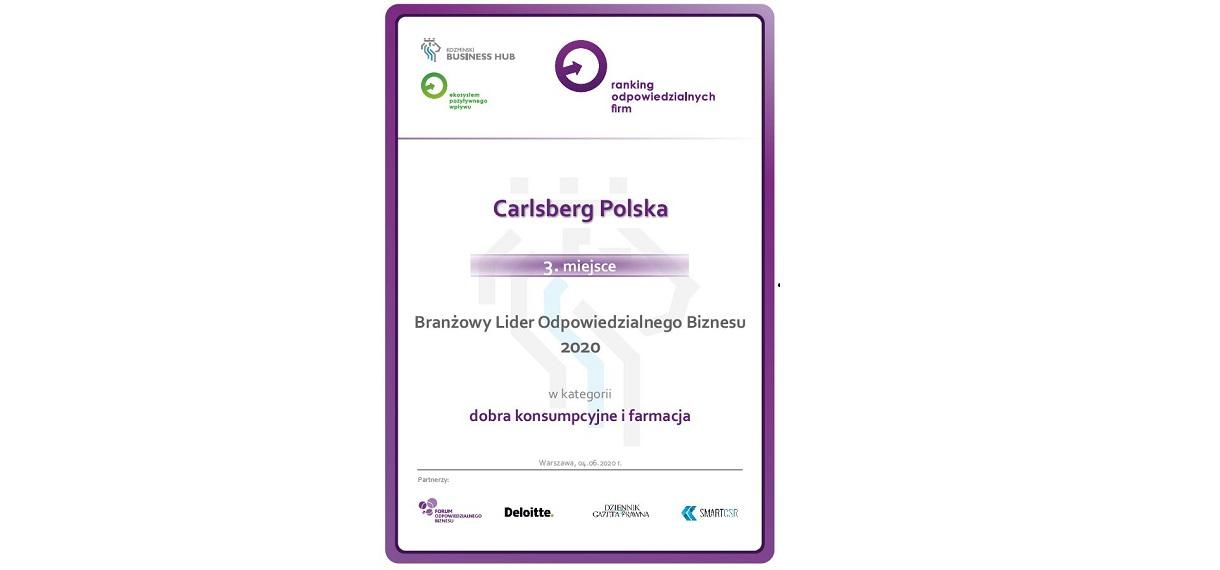 Carlsberg Polska na 3. pozycji w kategorii branżowej Rankingu Odpowiedzialnych Firm
