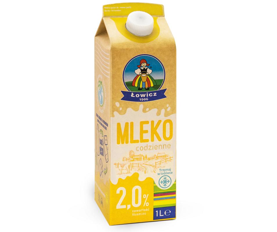Mleko codzienne 2% i 3,2% w opakowaniu z surowców odnawialnych